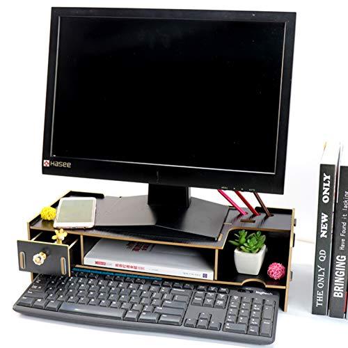 GX&XD Holz Computer Bildschirmständer,Universelle Stände zu überwachen Mit Storage-veranstalter Büro Schreibtisch Notebookständer Regal Mit schublade Mit Tastatur-stauraum-J - Holz-tastatur-schublade