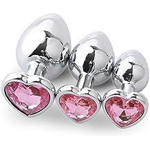 Rawdah Base de 3 piezas en forma de corazón con joyas Piedra de nacimiento Butt-Anal-Play Rose Jewel Sex SM