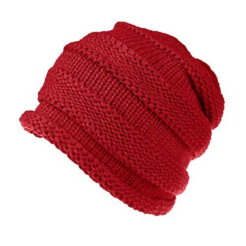 BHYDRY MüTze Unisex Warm Winter Wolle Stricken Ski Beanie SchäDel StrickmüTze BommelmüTze MäNner Frauen Baggy Slouchy Caps Hut(Rot)