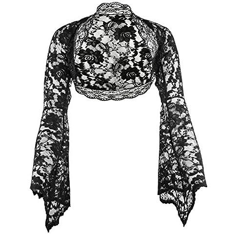 Langarm Bolero aus feiner Spitze, Ärmel glockenförmig, Schwarz, Elfenbein, Weiß, Größen 34-56 (54, schwarz)