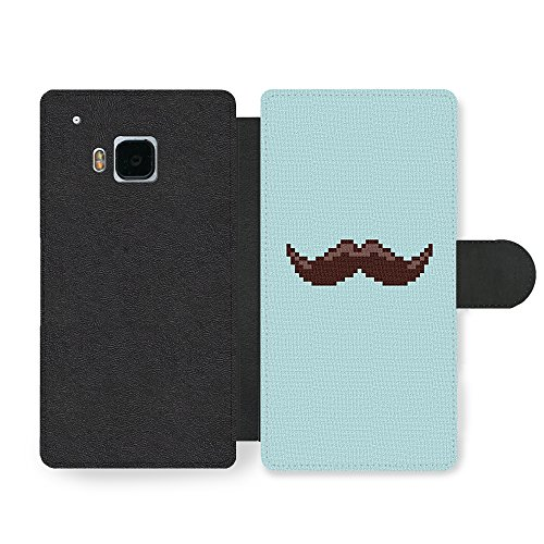 Micro Gorilla Moustache Retro Vintage Hipster Mustache Cross Stitch Blue Background Funny Ledertasche Hülle für HTC One M9 -