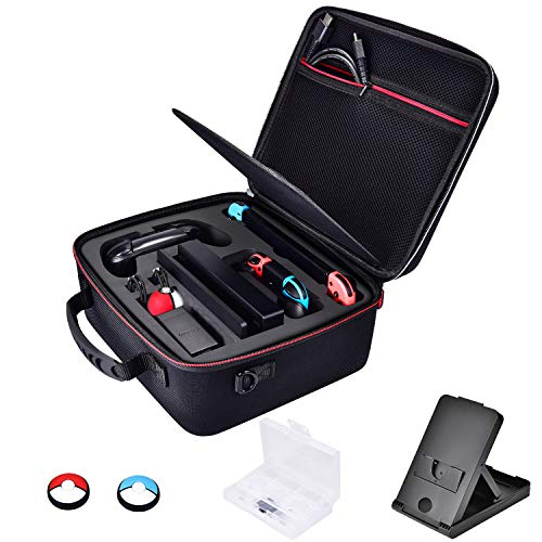 Price comparison product image Diocall Hard Carry Case Compatible with Nintendo Switch System and Pro Controller,  Extra Accessories Bundle Includes Compact Stand