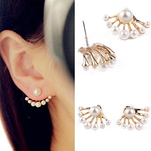 TR.OD 1Pair Women Lovely Crystal Earrings Pearl Ear Stud Front and Back Earbob