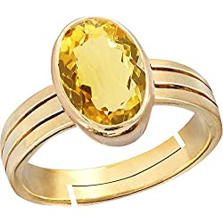 Gemorio Citrine Sunehla 4.8cts or 5.25ratti Panchdhatu Adjustable Ring For Men