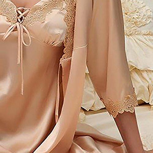 Aivtalk Damen 2CPS Nachtkleider + Robe aus Kunstseide Einfarbiger Nachthemd mit V-Ausschnitt Weiche Negligee mit Spagetti-Trägern Elegante Nachtwäsche mit Blumenspitze Größe / Farbe Wählbar Champagner
