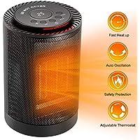 COMLIFE Calefactor Eléctrico Cerámico 1200W / 600W con Termostato Oscilación Automática de 70 Grados 3 Modos