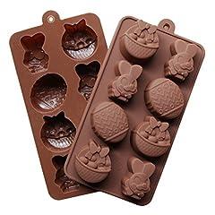 Idea Regalo - Stampo in silicone per cioccolato pasticceria stampo torta diy in forma di uovo di Pasqua, 2pcs, Colore Casuale