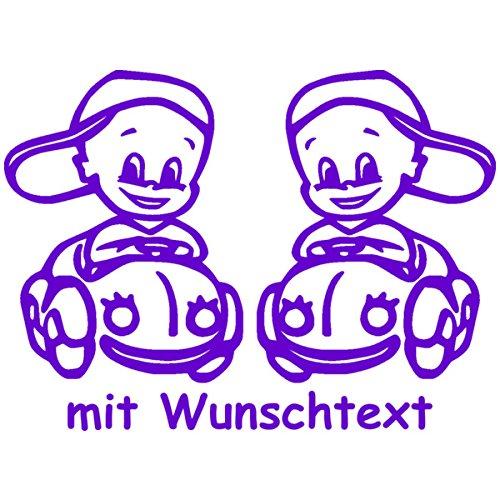 Preisvergleich Produktbild Babyaufkleber für Zwillinge mit Wunschtext - Motiv Z19-JJ (16 cm)