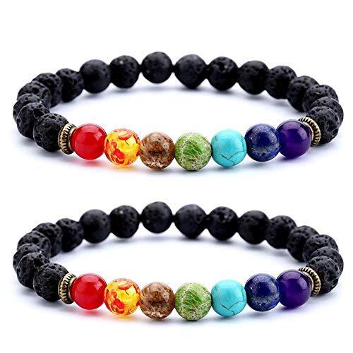 NewChiChi Lava Perlen Armband, 8mm ätherisches Öl Obsidian Diffusor Roca elastische Yoga Achat Perlen Armbänder, Naturstein zu heilen, Meditation, Landung, Selbstvertrauen, Aromath