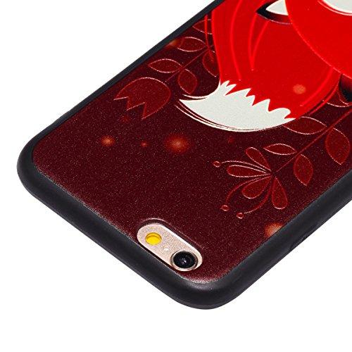 Custodia iPhone 6/6s, ISAKEN Cover per Apple iPhone 6 4.7 [TPU Shock-Absorption] - Colorate Sollievo Pattern Design Soft TPU sottile Custodia Case Nero Back Ultra Sottile TPU Morbido Protettiva Cassa Volpe rossa
