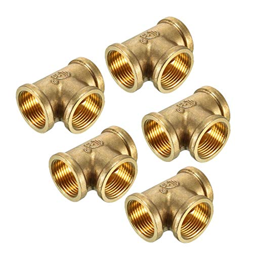 Female Pipe Thread Tee (ZCHXD Brass Tee Pipe Fitting 3/4 PT Female Thread T Shaped Connector Coupling 5pcs)
