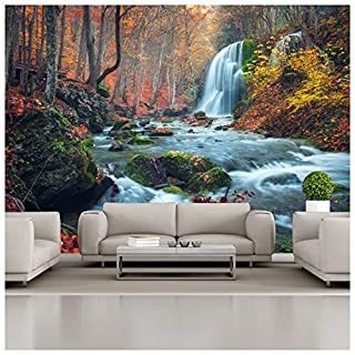 azutura Waterfall River Wall Mural Autumn Forest Photo Wallpaper Living Bedroom Decor available in 8 Sizes X-Large Digital