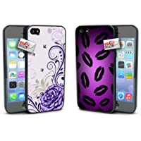 Lipstick Kisses Lips Purple Flowers Rose COMBO TWO PACK for iPhone 4 or 4s