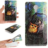 Wiko Robby Case,Cozy Hut Ultra Slim Back Protective Case Cover Soft TPU Case [Scratch-Resistant] Clear Slim Fit TPU Protective Case Cover For Wiko Robby,Unique Art Pattern Tiger Wolf Panda Dragon and Dandelion flower Butterfly owl Cute Animal Cartoon Floral Case for Wiko Robby 5,5 Inch - Oil painting owl