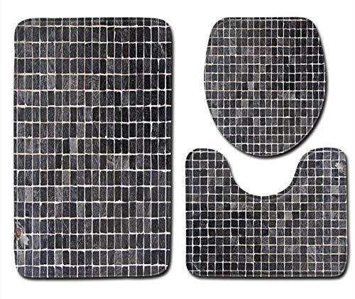Tayohye Moderne Einfachheit Streifen 3 Stück Badematte 3-teiliges WC-Abdeckungsset Wasseraufnahme rutschfest Badezimmermatte, 008, 45 * 75 -