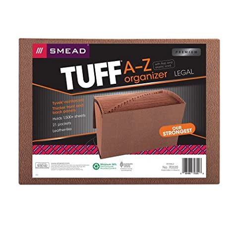 Smead TUFF® Expanding File, Alphabetic (A-Z), 21 Pockets, Flap and Elastic Cord Closure, Legal Size, Redrope-Printed Stock