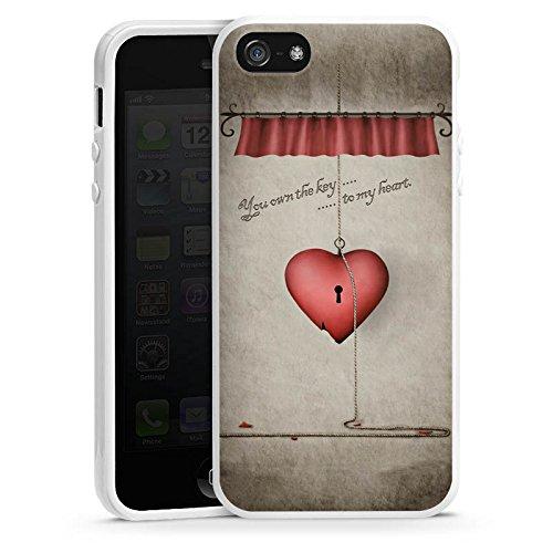 Apple iPhone 4 Housse Étui Silicone Coque Protection C½ur Phrase Clés Housse en silicone blanc