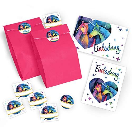 6 Einladungskarten zum Kindergeburtstag für Mädchen Einhorn / Unicorn / zwei Einhörner / Einladungen / schöne und bunte Geburtstagseinladungen incl. 6 Umschläge, 6 Party-Tüten / rosa, 6 Aufkleber