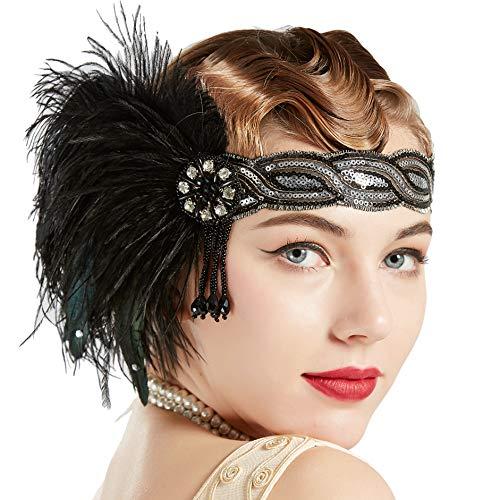 Coucoland 1920s Stirnband Feder Damen 20er Jahre Stil Flapper Showgirl Charleston Haarband Great Gatsby Damen Fasching Kostüm Accessoires (Schwarz - Showgirl Kostüm Mit Federn