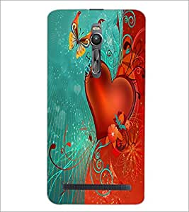 PrintDhaba Butterfly and Heart D-2304 Back Case Cover for ASUS ZENFONE 2 (Multi-Coloured)