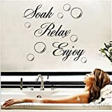 SOAK RELAX ENJOY Bathroom Wall Art Quote Sticker Vinyl Decal Home Art Decoration