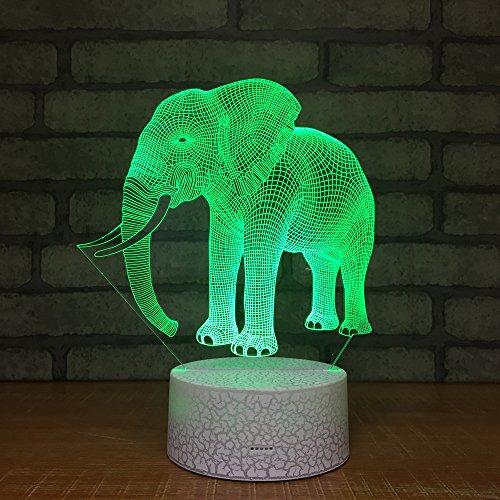 Led Lámparas Elefantes Luz Nocturna Visión Estérea Lámpara 3D Escritorio De Inducción...