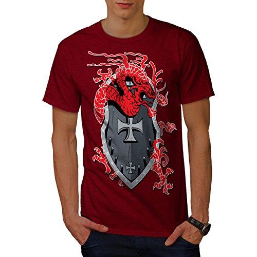wellcoda Drago Scudo Fantasia Uomini Maglietta Médiéval T-Shirt con...
