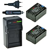ChiliPower Panasonic VW-VBT190 Kit: 2x Batterie (2100mAh) + Chargeur pour Panasonic: HC-V250/V550/V757/W858/V727/V520/510/210/110/V707/V500/V100/SD66/SD99