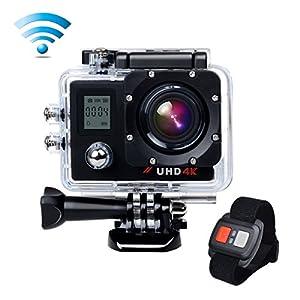 Campark® ACT76 4k Wifi Ultra HD Dual Screen Resistente al agua Cámara de Acción Deportiva Temporizador y Grabación en Cámara Lenta Cámara de Casco Amplio Ángulo de Visión 170 DVR Videocámara Control Remoto