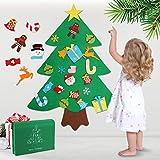 WOSTOO Albero Natale Feltro, Natale della feltolta di DIY con 32 Ornamenti Staccabili Regali di Natale di Nuovo Anno per la Decorazione della Parete del Portello dei Bambini
