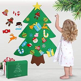 WOSTOO Árbol de Navidad de Fieltro,DIY Fieltro Árbol de Navidad Bolsillo de Calendario Árbol de Navidad con 29 Adornos Desmontables Niños