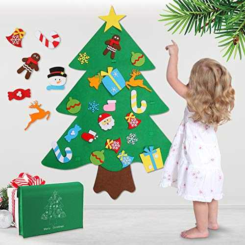 WOSTOO DIY Christmas Tree, Felt Christmas Tree Set Glitter Edition 32 Pieces DIY Decoration Hanging Decor Removable Ornaments for Children Xmas Gifts New Year Door Wall Hanging Decorations -