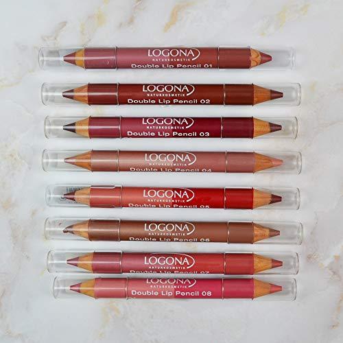 Logona, Matitone labbra doppio, Ruby Red, 1,38 g