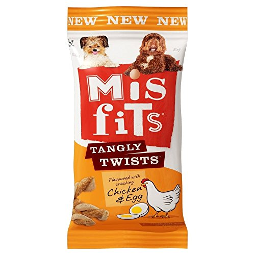 MISFITS Tangly Twists Dog Treats with Chicken and Egg, 140 g – Pack of 10