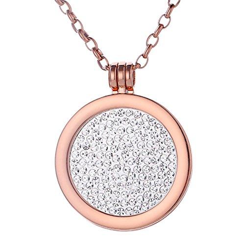 Morella Damen Halskette rosegold 70 cm Edelstahl mit Amulett und Coin 33 mm Glitzersteine weiß in Schmuckbeutel