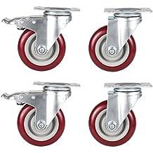 Homdox 4inch Ruedas Giratorias para Muebles Set de 4 Ruedas de Repuesto Ruedas para sillas de Oficina ( 2 sin Freno 2 con freno) Rojo oscuro
