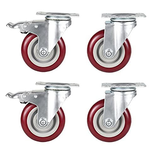 Homdox Roulettes Pivotante en Caoutchouc de 4 Puces Avec Monture Tôle D'acier Roulettes Remplacement Ultra-Résistantes Avec Frein(2 Avec/2 Sans) Lot de 4 Roulettes en Caoutchouc 3,4 cm Pour Les Meubles/Chariot Rouge