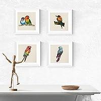 PACK de láminas para enmarcar CUATRO PÁJAROS. Posters cuadrados con imágenes de pájaros. Decoración de hogar. Láminas para enmarcar. Papel 250 gramos alta calidad