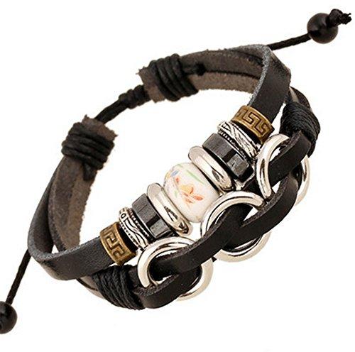 DaoRier Retro Gewebt Lederarmband mit Metall Schnalle Perlen Ornamente für Männer Frauen Gewebtes Lederarmband (Ornament Craft Perlen)