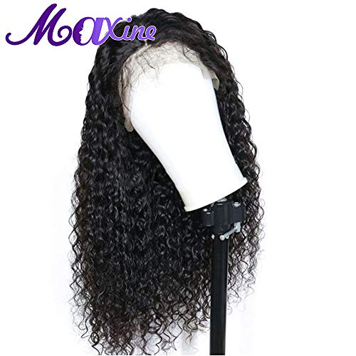 Maxine Great Formal Hair kinky Curly Human Hair Lace Front Wigs 180% Density 100% Unprocessed Human Virgin Hair Loose Deep Curly Wig for Black Women Natural Color(14inch)