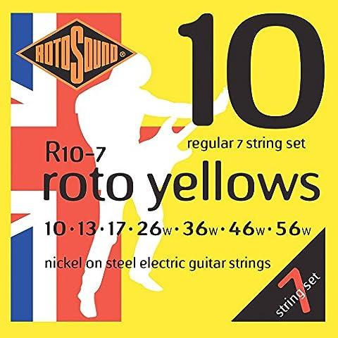 Rotosound Nickel Regular Gauge 7 String Electric Guitar Strings (10 13 17 26 36 46 56) - Nichel 7 String Chitarra