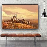 Geiqianjiumai Indischen Ureinwohnern Landschaft Öl auf Leinwand Poster und Drucke skandinavischen Wohnzimmer Wandbild rahmenlose Malerei 50x75cm