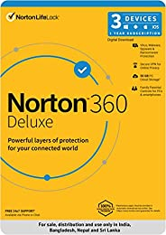 Norton 360 Deluxe | 3 Users 1 Year| Total Security for PC, Mac, Android or iOS |Code emailed in 2 Hrs