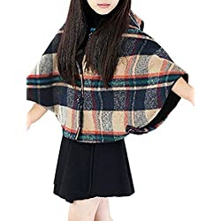 sourcingmap Niña Escocesa Solapa Con Botones Con capucha Estambre Poncho - sintético, Beige, 95% poliéster 100% poliéster 5% lana, Niña, 6X