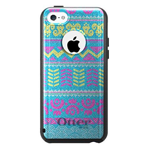 DistinctInk Fall für iPhone 5C Otterbox Commuter Gewohnheits-Fall Gelb Blau Aztec Tribal Auf Schwarz-Fall (5c Fällen Otter Box Blau)