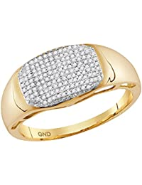 Anillo ovalado de oro amarillo de 10 quilates para hombre, redondo, diamante, 1
