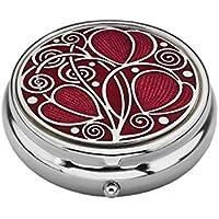 Preisvergleich für Pillendose–3-fach–Rennie Mackintosh Blätter und Spiralen Design, emailliertes Zinn–Rot/Fuchsia–5cm