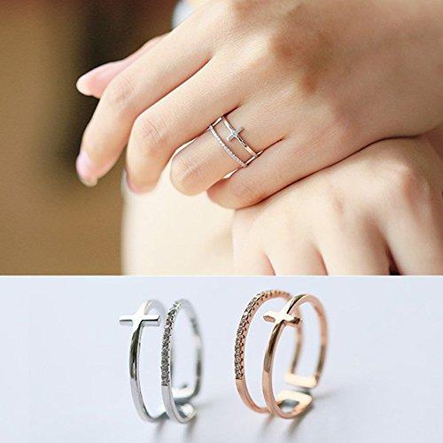 1 - EQLEF 2 Diamantes Artificiales de la Cruz Doble de PCS abren los Anillos para la Muchacha o Las Mujeres
