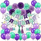 Zerodeco Decorazioni per Feste a Sirena, striscioni di Buon Compleanno PON PON di Carta Palloncini coriandoli a Sirena Cappelli per Feste a Forma di Sirena di Brillantini e Toppers per Cupcake