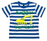 Baby & Kleinkind Blau & weiß Gestreift T-shirt 92-98 'BAGGER VERRÜCKT' DESIGN 1